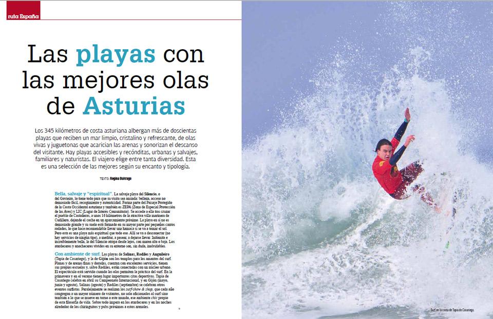 Las playas con las mejores olas de Asturias en Revista Viajar